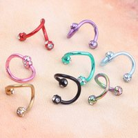 anodized s - Anodized S Spiral Twisted Lip Ring Nose Ring Ear Cartilage Helix Piercing Body Piercing Jewelry g