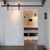 antique wood doors - New FT Black Modern Antique Style Sliding Barn Wood Door Hardware Closet Set