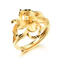 Wholesale women s jewelry K Gold Plated flowers Wedding Rings Adjustable size