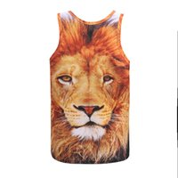 Wholesale Wildlife Face Eyes Lion D Print Tank Tops Kids Men Women Undershirt Sportswear Teen Cotton Tee Loose Unisex Garment