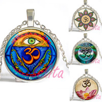 asian eye glasses - Mandala indian jewelry Evil Eye pendnat necklace spiritual jewelry glass dome long necklace for women