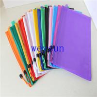 Compra Carpetas de plástico bolsillos-Cremallera impermeable carpeta de archivos de hojas de plástico bolsa de documento bolsillo carpeta A4
