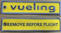 Metal Polyester airlines tags - Vueling Airlines Remove Before Flight Luggage Tag Woven Embroidery Keychain x cm