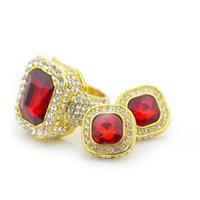 Wholesale Earrings ring Sets For Men Women Ruby Colorful Earrings Gold Plated Ring Hip Hop Charm jewelry Set