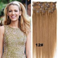 70g / set clip del pelo humano europeo en la extensión del pelo humano de 16inch-24inch cabeza completa 7pcs Set clip en el pelo 28 colores Humanos