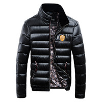 Wholesale Fall New arrivals Fashion White duck down jacket men down coat PU leather Stand men winter jacket Short winter jackets mens