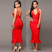 Wholesale New Designer Sexy Rayon Strappy Bandage Dress For Ladies Deep V Neck Sleeveless Solid Fishtail Bodycon Party Dress Mermaid Boutique H2343