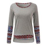 Cheap 2016 Fashion Autumn Women Blouses Sweatshirt Vintage Patchwork Full Sleeve Casual Hoodies Tops Blouse Shirt Plus Size Blusas