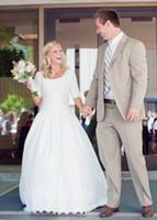 Wholesale Modest Plus Size Wedding Dresses With Sleeves Lace Vintage Wedding Gowns Court Train Pleats Satin Applique Bridal Gowns