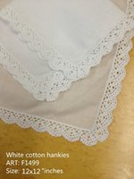 handkerchiefs ladies white embroidered - HomeTextiles New Irish lace Style White Soft cotton Ladies Handkerchief x12 quot Elegant Embroidered crochet lace edges For Bride