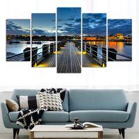 (Нет Frame) Город и мост 5 Панели / Set Large HD Picture Печать холст Картина Картина Стена Декоративная роспись