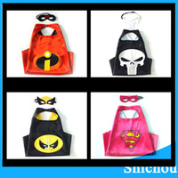 Wholesale 36 styles Double side kids Superhero Capes and masks Batman Spiderman Ninja Turtles Flash Supergirl Batgirl Robin for kids capes with mask