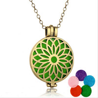 Wholesale 11style aromatherapy necklaces antique silver bronze Hollow out necklaces essential oil diffuser Hot perfume locket necklaces pendant female