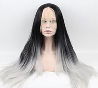 african grey babies - HOT Ombre Black grey synthetic hair lace front wig for african americans26inch free part black baby hair fast shipping
