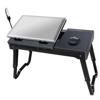 Wholesale Foldable Laptop Table Tray Desk Cooling Fan Tablet Desk Stand Bed