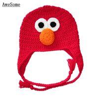 baby elmo costume - Knit Crochet Elmo Ear Flap Hat Red Baby Boy Girl Cap Halloween Hat Costume Newborn Kids Photography Props