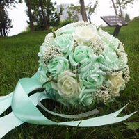 Wholesale 2016 Beautiful Mint Green Wedding Bouquet with Corsag Wrist FlowerArtificial Pearls Flower Bridal Flower Wedding Bouquets bouquet of bride