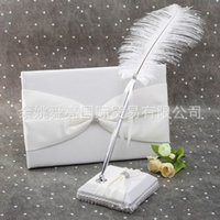feather pen - New Romantic Wedding Guest Books And Pen Sets Two Pieces Notebook Shining Rhinestone Embedded Fashion Guest Feather Pen and Guest Book Set