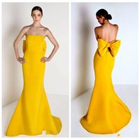adorn designs fashion - 2016 New Design Yellow Simple Mermaid Satin Evening Dresses Adorned Bow Back Fancy Formal Prom Gowns Sexy Strapless Slim Vestidos