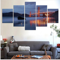 Wholesale Hot Sell Piece Modern Wall Painting Golden Gate Bridge Night Home Decor Oil Paintings Canvas Wall Art Picture For Living Room