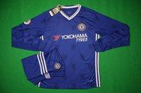 Wholesale Benwon Chelsea home blue full sleeve soccer jersey player s thai quality football uniforms men s full sleeve soccer sets sports kits