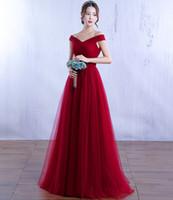 Cheap New Arrival Off Shoulder Long Evening Dresses Burgundy Tulle Graduation Gowns Elegant Corset Prom Party Dress C1012