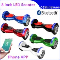 Wholesale Phone APP inch Two Wheels LED Scooters Smart Hoverboard Bluetooth Music Player Balance Wheel Electric Skateboard Days Dropshipping