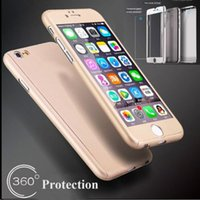 Wholesale iPhone Full Hybrid Tempered Glass Acrylic Hard Case Cover For iPhone SE S Plus Samsung S7 S6 Note