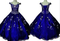 baby portrait photos - Princess Royal Blue Girl s Pageant Dresses Short Sleeves A line Organza Crystal Baby Kids Flower Girls Dress Gowns For Teens Wedding