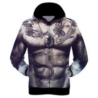 animal print tattoos for women - D Tattoo muscle body Zipper hooded harajuku Casual sweatshirt sport suit men s sportswear hoodies tracksuit for women men