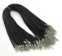 beading necklaces - 100pcs mm mm Black Wax Leather Snake chains Necklace Beading Cord String Rope Wire cm cm Extender Chain with Lobster Clasp DIY