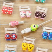 Wholesale 3D cartoon STITCH superman USB Data cable line head Protector Captain America headset earphone connector port protective For iphone HTC