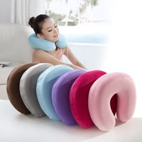 Wholesale Memory Foam Pillow Neck U Shape U Shaped pillow Nursing Cushion pillows Headrest Car Flight Travel Soft Pillows P35