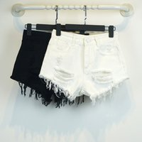 Wholesale New Fashion White Black Ripped Women Sexy Hot Girls Shorts Women Summer Holiday Jeans Loose Shorts