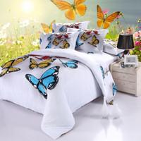 al por mayor mantas de algodón de tamaño queen-Mariposa manta sábanas de la cubierta del edredón 3d colcha almohada 4pcs sham ropa de cama Queen size doble 100% algodón