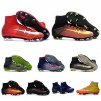 aa meshes - Supply Men Mercurial Superfly FG CR7 Soccer Shoes Children Soccer Cleats Laser original Kids Boys football boots women Girls Football Shoes