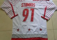 Cheap Olympic Games Team Canada #91 Steven Stamkos Gray Ice Hockey Jerseys Embroidery Logo Can Mix Order Size M-XXXL