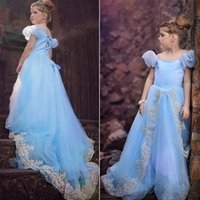 Cheap Elegant Cinderella Vestidos Menina For Roupa Infantal Girls Cosplay Blue Lace Party Princess Dresses Robe De Festa Christmas