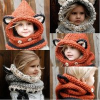 baby cowl - Hot Fashion Winter Warm Neck Wrap Fox Scarf Caps Cute Children Wool Knitted Hats Baby Girls Shawls Hooded Cowl Beanie Caps