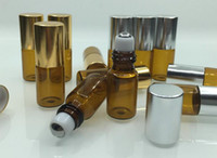 Wholesale Refillable ml Amber Glass Roll On Essential Oil Perfume Bottle Stainless Steel Roller Ball
