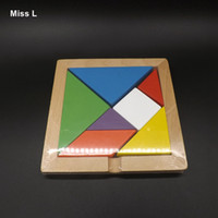 Wholesale Colorful Tangram Puzzles Nautral Wood Toys Game Brainteaser Wisdom Challenge