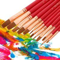 Wholesale 12Pcs Flat Tip Nylon Hair Paint Brush Set Wooden Handle Water Color Gouache Acrylics Oil Painting Tool Purple