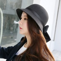 Wholesale The Autumn Winter All match Korea Female Fisherman Hat Color Dome Felt Trilby Bow British Hat Lady Basin Cap