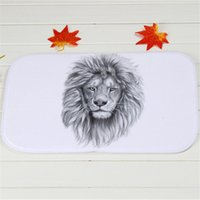 bath lions - Mighty Lions Bath Mats Polyester Coral Fleece Rectangle Cartoon Non slip Bathroom Bedroom Carpet Home Mat X60CM
