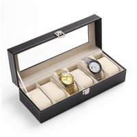 Wholesale High quality Grid Glass Top Leather Watch Box Black Mens Womens Leather Display Glass Top Jewelry Case Organizer