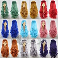 Wholesale cm long wavy black white pink anime cosplay hair wigs cheap girl s red blond synthetic hair wig blue brown full hair wig