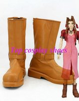 aerith cosplay - Final Fantasy Aerith Anime Game Cosplay Shoes boots brown New Ver hand made Custom made freeshipping