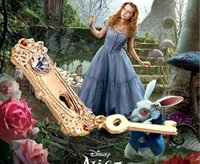 alice gold necklace - 16pcs jewelry gold plated alloy rock Movie Alice in Wonderland Rabbit Hole Lock Golden Key pendant necklace girl women fashion Hot x133
