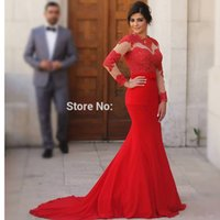 beaded jackets for evening wear - arabic evening dresses long sleeve red chiffon mermaid evening dress lace applique formal gowns for prom party W12718