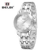 barometer glass - Casual Lady Waterproof Watches Stainless Steel Three Pin Women Sexy Wristwatches Diamond Round Barometer China Brand Belbi